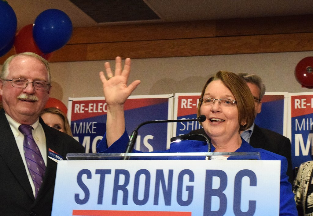 Five is now Shirley Bond's favourite number. With 9,363 (unofficial) Bond was re-elected for her fifth term in Prince George-Valemount in Tuesday's provincial election. Bill Phillips photo