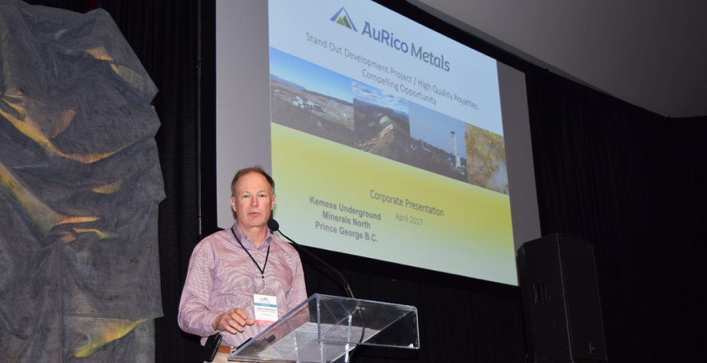 Chris Rockingham, vice-president development for AuRico Metals, at the Minerals North conference in Prince George in April. Bill Phillips photo