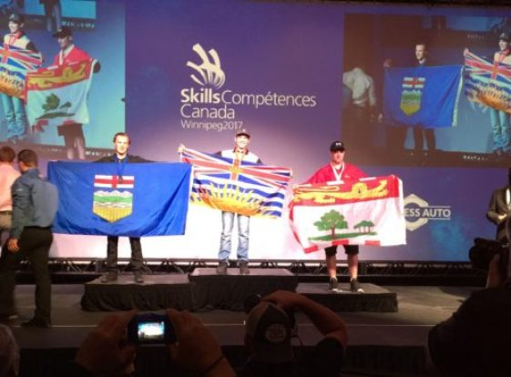 Avery Bell, winner of the cabinetmaking event at CNC's regional skills competition was awarded the gold medal in the secondary level of the national championships. Photo courtesy of CNC