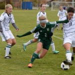UNBC women's soccer defender Mara McCleary battles for the ball in a game versus Alberta in 2016. The Pandas visit UNBC again this year on Sept. 17. UNBC photo