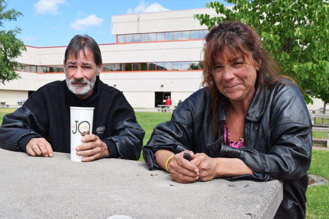 100 Mile House evacuees Dave and Christine outside the CNC Emergency Reception Centre Monday. Bill Phillips photo