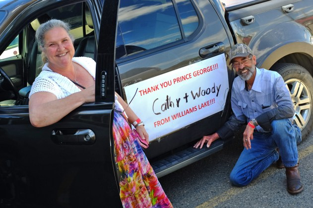 When Woody and Cathy Winkelmann were evacuated, they drove 15 hours to get from Williams Lake to Prince George (a trip that normally takes three hours). Now, as they prepare to go home, they are demonstrating their appreciation to the residents of Prince George everywhere they drive. City of Prince George photo