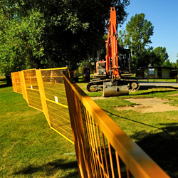 The site of the new pavilion in Lheidli T'enneh Memorial Park is behind construction fencing as work begins. City of Prince George photo