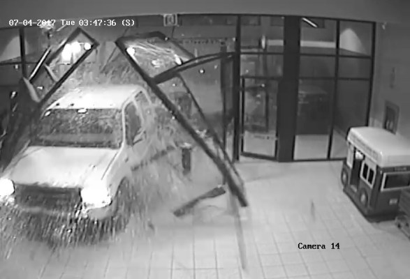 Security video still of stolen truck smashing through the entrance of Pine Centre Mall. Photo courtesy of the RCMP