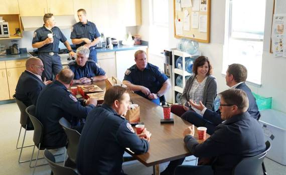 Conservative Party leader Andrew Scheer meets with Prince George Fire Department members Monday.