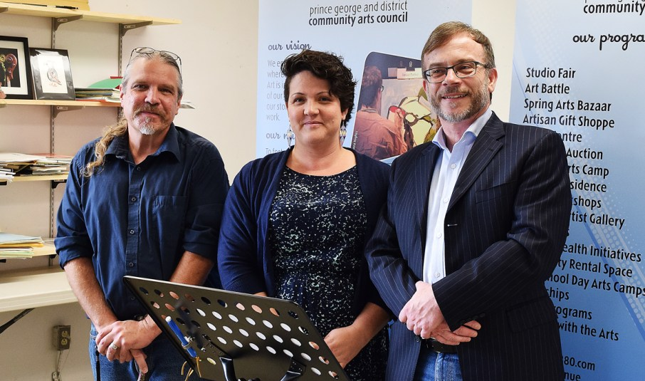 The Community Arts Council's new Artists-in-Residence Michael Kast (left) and Lynette La Fontaine with arts council executive director Sean Farrell. Bill Phillips photo