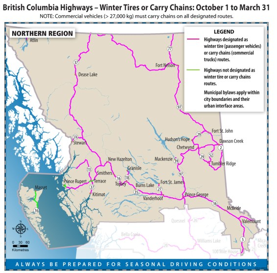 BC Highways - Winter Tires or Carry Chains: October 1 to March 31 Map