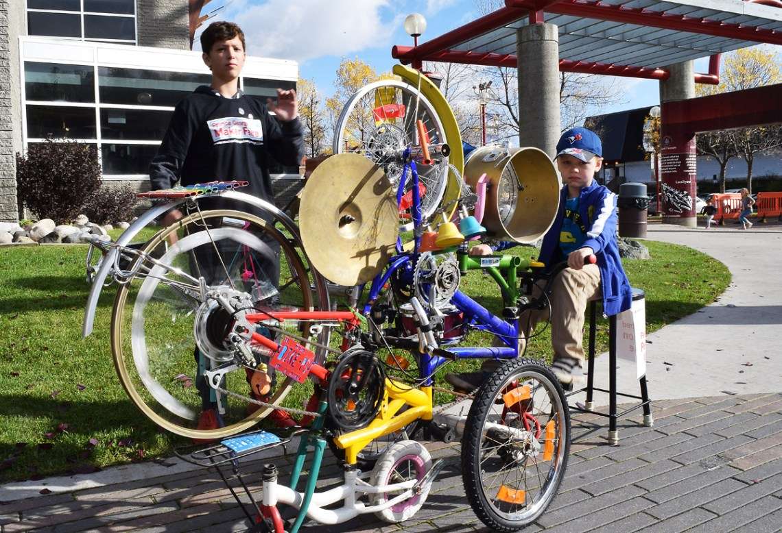 Who knew there was such a thing as a pedal-powered percussion machine? Well there is and it was at the Mini-Maker Faire on Saturday. Bill Phillips photo