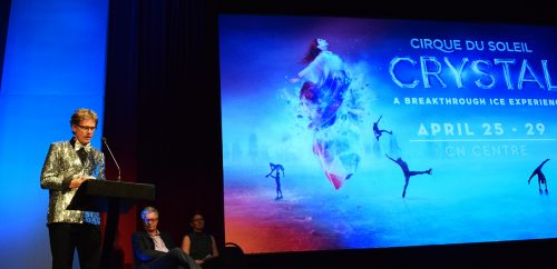 CN Centre manager Glen Mikkelsen at the Cirque du Soleil announcement Wednesday. Bill Phillips photo