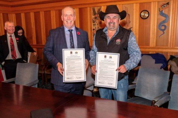 Premier John Horgan and Tsilqot'in Chief Joe Alphonse. Province of B.C. photo