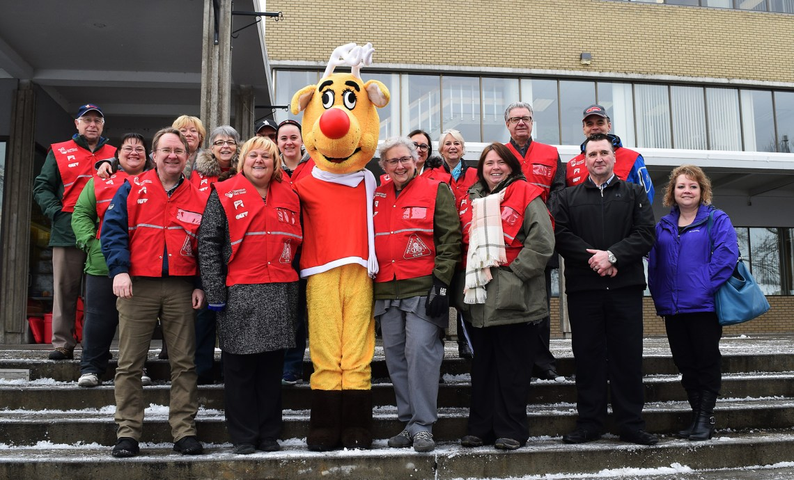 Operation Red Nose volunteers officially kick off the 2017 campaign on the steps of City Hall Tuesday. Bill Phillips photo