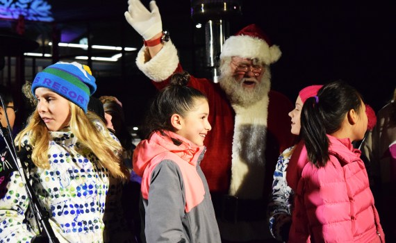 Santa was a big hit at the Civic Light Ceremony Sunday at Canada Games Plaza. Bill Phillips photo