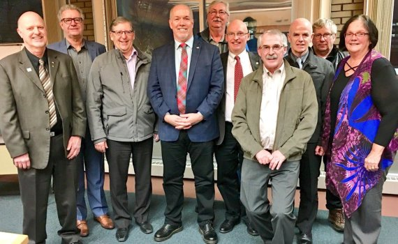 """Premier John Horgan was in Prince George Friday to meet with northern mayors. """"Really enjoyed my roundtable with northern mayors and regional district reps this evening. We touched upon a range of issues, including forestry, energy, trade, health care and education. Thanks to @Bob__Simpson for the invite and @Lynhallpg for hosting,"""" Horgan Tweeted. He did not meet with local media. Twitter photo"""