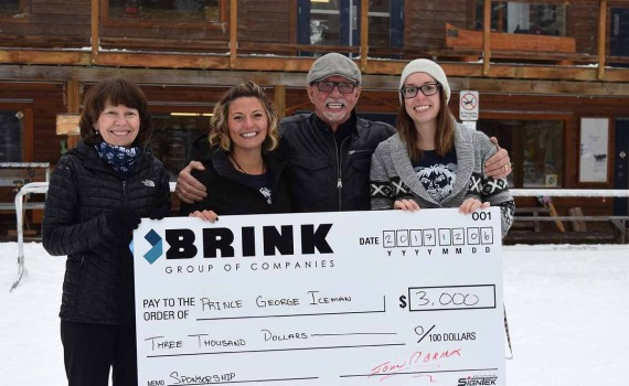 Prince George Iceman treasurer Jane Newman (left); Liz Bennett handling sponsorship and social media for the Ice Man; John Brink of the Brink Group of Companies; and Melissa Martinson, also doing social media for the Iceman. BIll Phillips photo