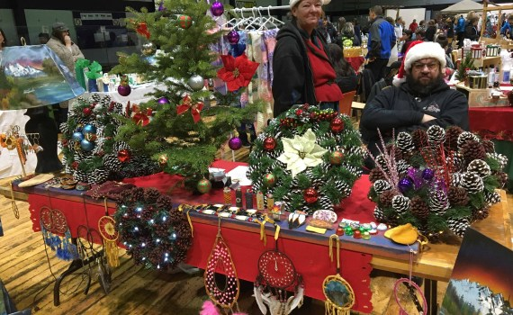There were plenty of wonderful items up for sale at the Small Business Fair at the Roll-A-Dome Saturday, including these wonderful handmade wreaths. Bill Phillips photo
