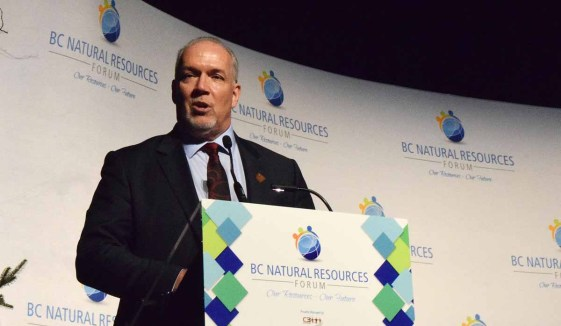 Premier John Horgan addresses the crowd at the B.C. Natural Resources Forum Wednesday. Bill Phillips photo