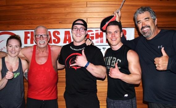 Brooklyn ward, John Brink, Jason Keller, Scott McWalter, and Gordon Langer after a challenging workout at Keller's gym. Bill Phillips photo