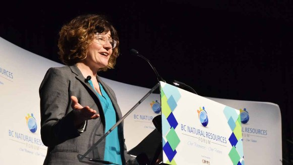 World Wildlife Fund president and CEO Megan Leslie speaks at the BC Natural Resources Forum in Prince George. Bill Phillips photo