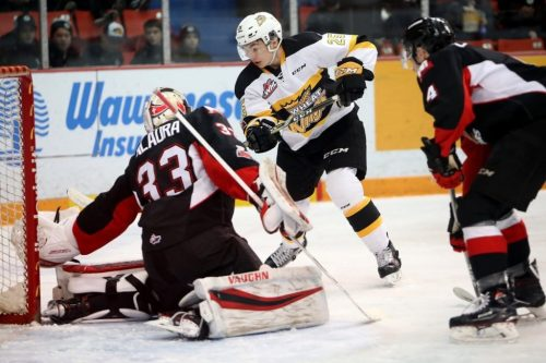 Isaiah DiLaura stood tall in net, kicking-out 28 of 30 shots, as the Cougars downed the Brandon Wheat Kings Friday. Photo courtesy of the Prince George Cougars