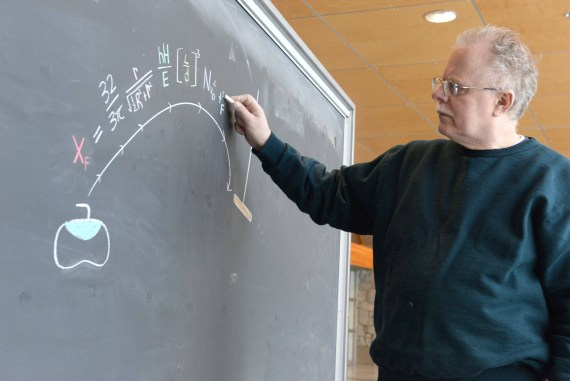 UNBC researcher Dr. Mark Shegelski (above) collaborated with Dr. Edward Lozowski of the University of Alberta to come up with a comprehensive formula to describe why and how a curling rock curls. UNBC photo