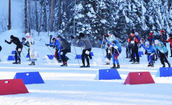 And they're off. Despite temperatures around -18 degrees Celsius at start time, the Prince George Iceman got underway Sunday morning. A total of 505 participants are taking part in the ski, run, swim, and skate competition. Bill Phillips photo