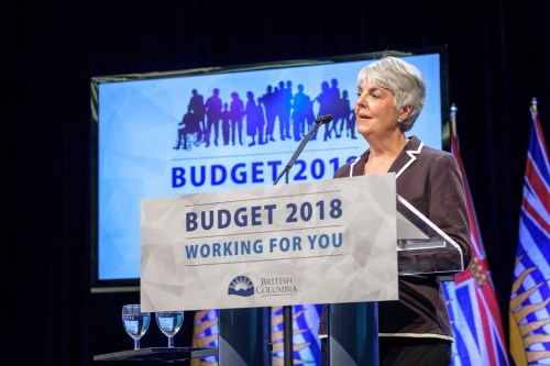Finance Minister Carole James delivers the NDP's first budget. Province of B.C. photo