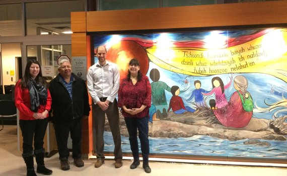 PG AHIC chair & Health Director Louella Nome & Chief Dominic of Lheidli T'enneh, & UHNBC HSA Aaron Bond stand w Métis artist Carla Joseph who's art piece was unveiled today at UHNBC. The new piece welcomes hospital visitors in Carrier. Northern Health photo