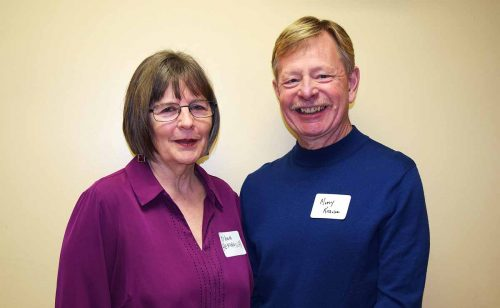 Dawn Hemingway and Murry Krause at the Poverty Reduction Strategy meeting in Prince George Saturday. About 60 people attended the event. Bill Phillips photo