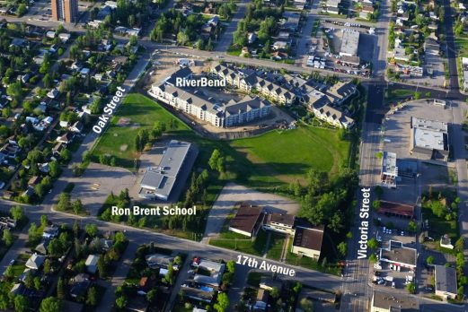 The City of Prince George is redeveloping Ron Brent Park as part of the sale of a portion of park to accommodate the construction of what is now the Riverbend Seniors Community.