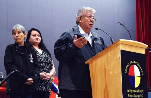 Lheidli T'enneh Chief Dominic Frederick speaks at the opening of the Prince George Indigenous Court. Councillors Vanessa West and Shirley Gustafson look on. Bill Phillips photo
