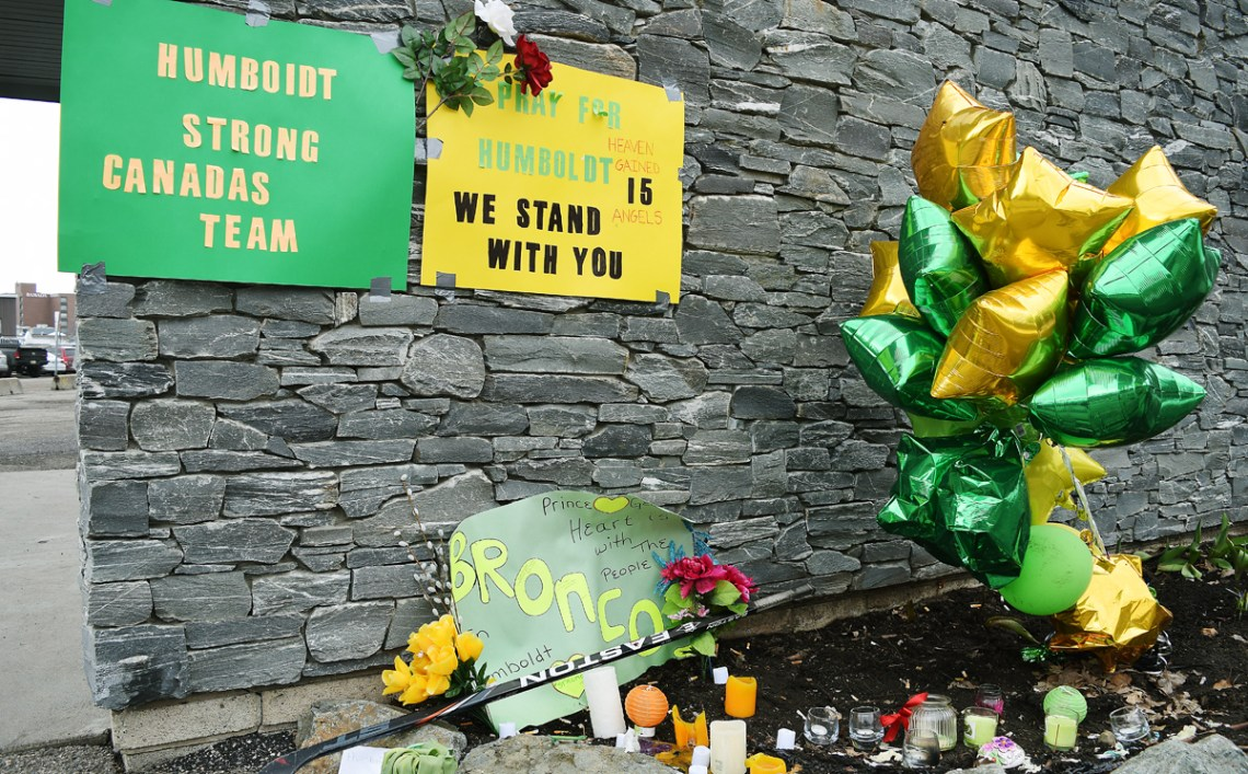 A memorial for the Humboldt Broncos hockey players and staff killed last week has sprung up outside Rolling Mix Concrete Arena. The Prince George Spruce Kings are going to board the bus for Wenatchee tomorrow at about 11:30 a.m. A large crowd is expected to see the team off. Bill Phillips photo
