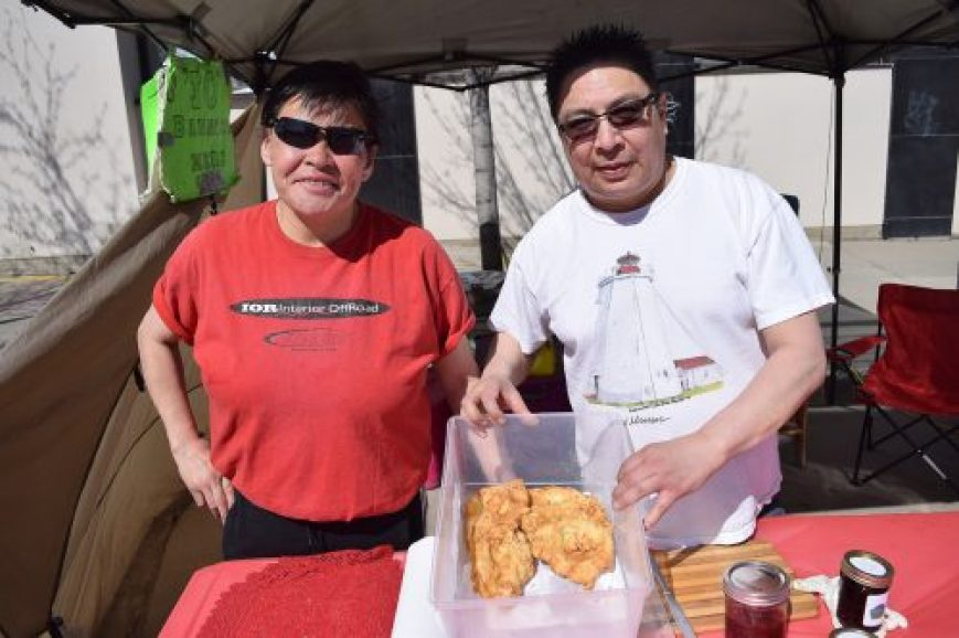 Jo's Bannock has been around for decades and the popular booth was set up at the Prince George Farmer's Market new location Saturday. The farmer's market has moved to Quebec Street between Second and Third Avenues. Bill Phillips photo