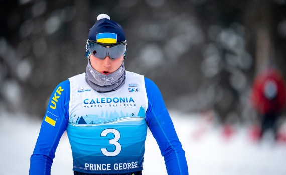 Taras Rad of the Ukraine competes in the cross country sprint at the 2019 World Para Nordic Skiing Championships at Otway this week. Kelly Bergman/BergMedia