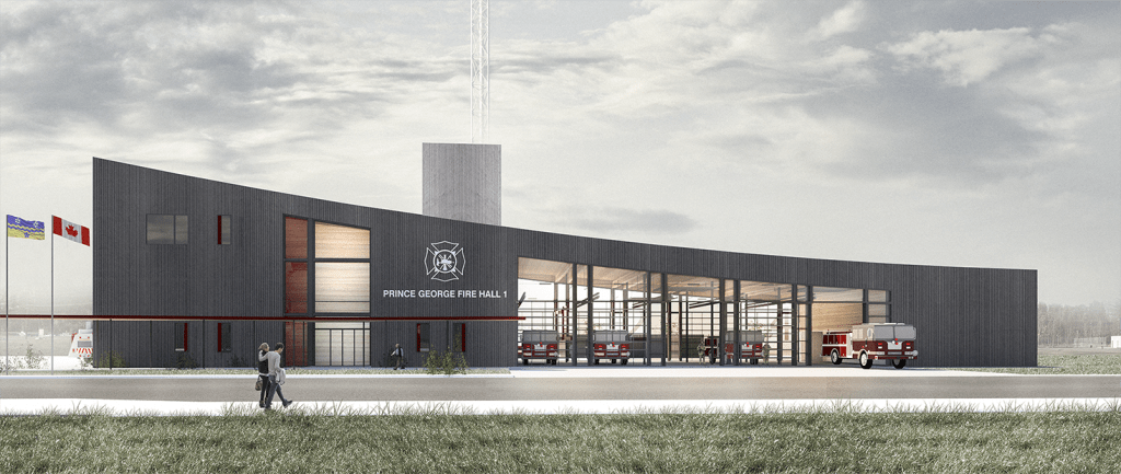 The recently unveiled concept design for Fire Hall #1. The new hall will be approximately 50% larger than the current facility and have the capacity to house a functional and well-designed Emergency Operations Centre and Fire Operations Communications Centre.