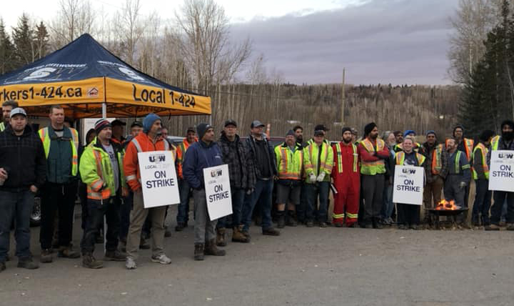 United Steelworkers Local 1-2017 on strike at Canfor's Prince George sawmill this morning. The union has been hold rotating strikes at mills throughout the region since last week. The strike's are at mills represented in bargaining by CONIFER. Facebook photo