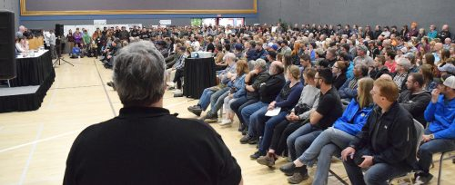 Close to 600 people crowded into the Prince George Civic Centre Tuesday to hear about the government's caribou recovery plans. Bill Phillips photo