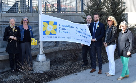 Acting Mayor Kyle Sampson and Coun. Garth Frizzell proclaim April as Daffodil Month in Prince George with the help of Margaret Jones Bricker, Manager, Annual Giving Canadian Cancer Society; Sandra Blackwell, Sandra Blackwell, Coordinator, Annual Giving Canadian Cancer Society; Erin Reynolds, Annual Giving Coordinator; and Brooke Sherwood, Director, Annual Giving Canadian Cancer Society. Bill Phillips photo