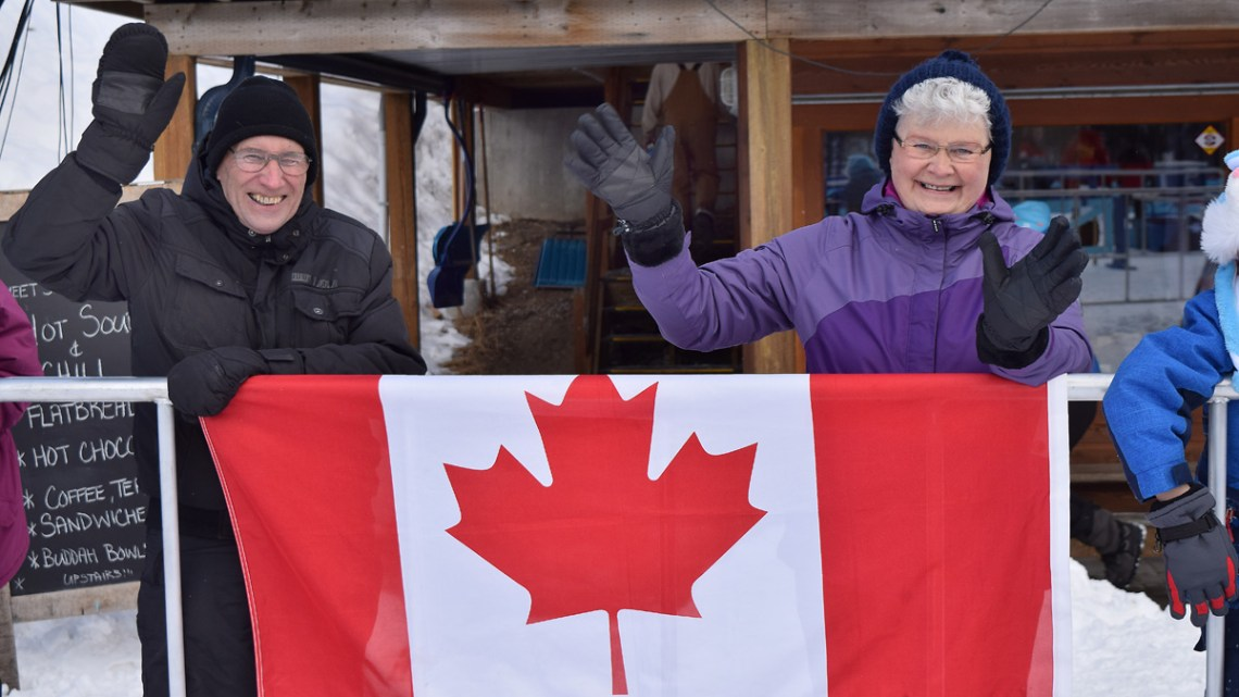 Fans cheer on the home team during the World Para Nordic Skiing Championships at Otway Nordic Centre. The games wrap up Sunday with closing ceremonies at the Civic Centre. Bill Phillips photo