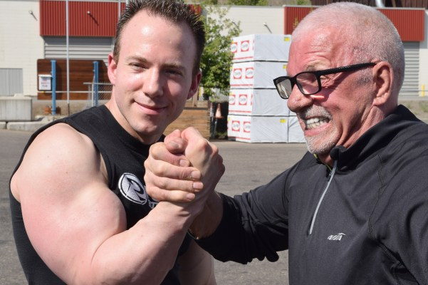 Armwrestler Dan Gallo with sponsor John Brink, of the Brink Group of Companies. Bill Phillips photo