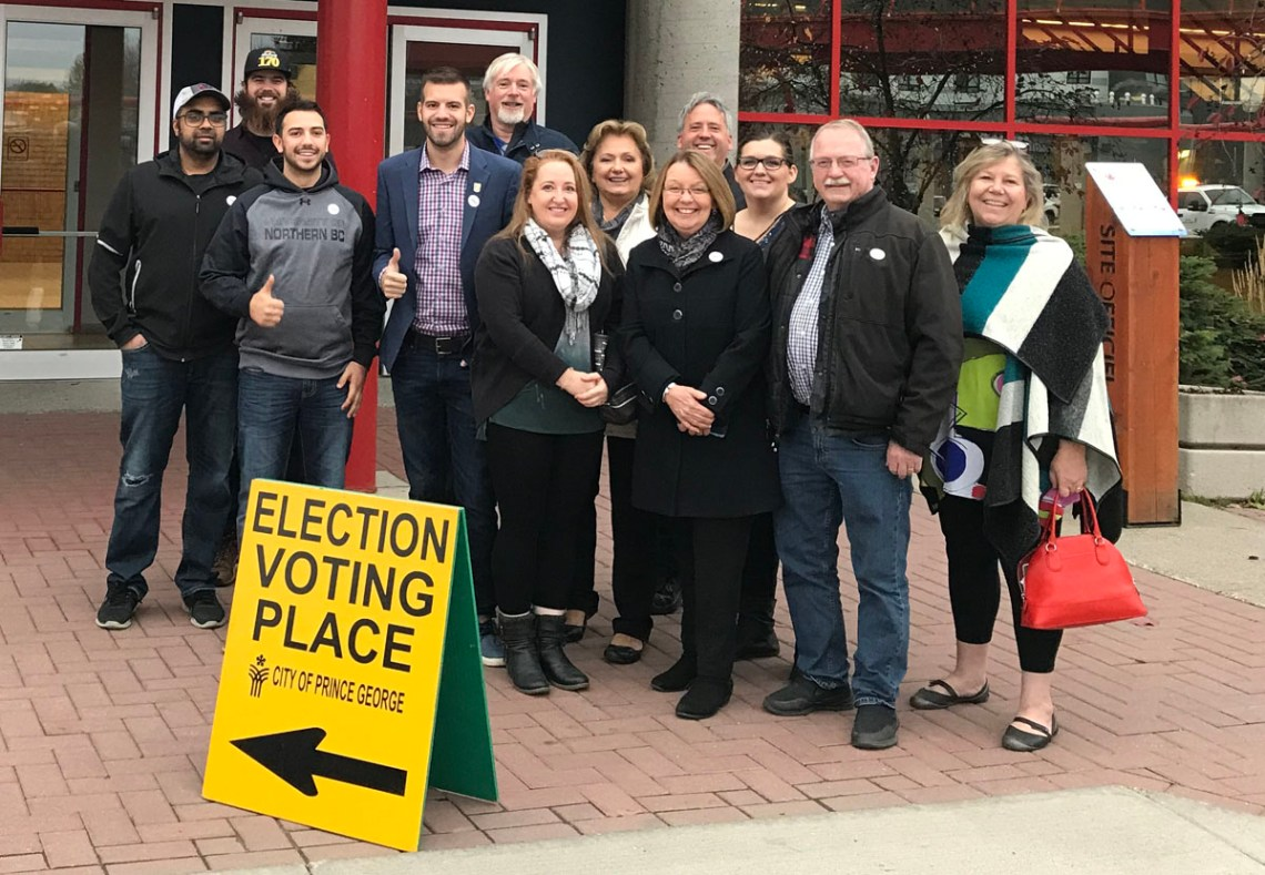 Kyle Sampson was first in line to cast his vote and submit his ballot as advance polls opened today. He was joined by some of his supporters, including Prince George-Valemount MLA Shirley Bond. He was the official witness alongside election officials to perform inspections on the ballot box and voting machine at the Prince George Civic Centre, and his vote was the first submitted in the election. Sampson is hoping by voting early he can encourage others to 'Get Out & Vote' by showing that voting in Prince George is easy, accessible, and an important right to exercise. Submitted photo