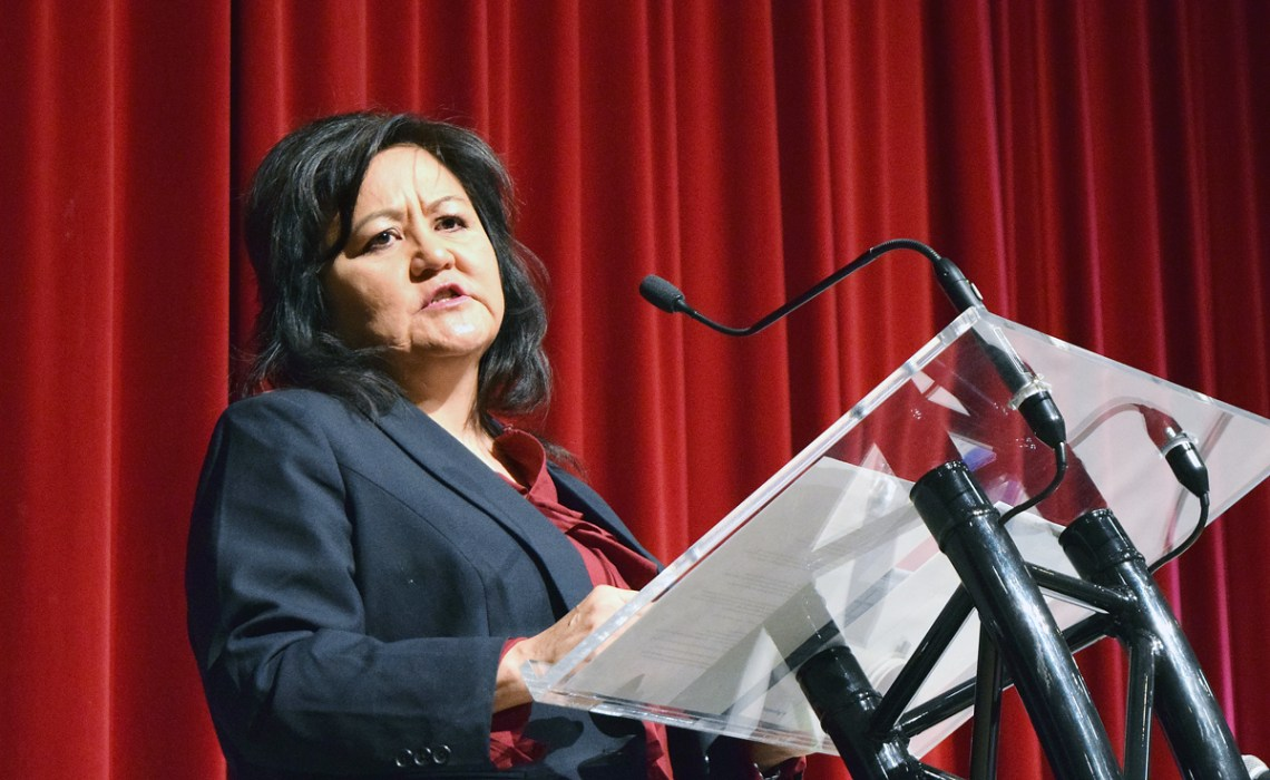 First Nations LNG Alliance Society CEO Karen Ogen-Toews speaks at an LNG job fair in Prince George Thursday. Bill Phillips photo