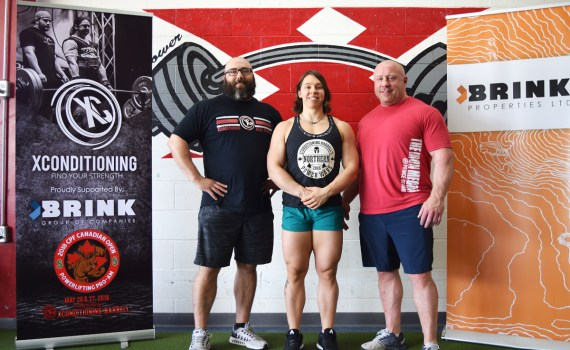 Powerlifters Jason Cook (left), Tara Webber, and Mike Webber will be competing at the 2018 Canadian Powerlifters Association Open at XConditioning this weekend. Bill Phillips photo
