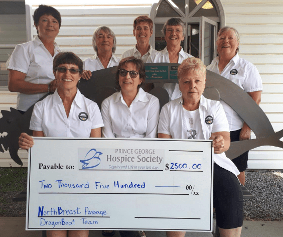 The NorthBreast Passage DragonBoat team stopped by the Prince George Hospice Society recently with a $2,500 cheque in tow. Photo submitted