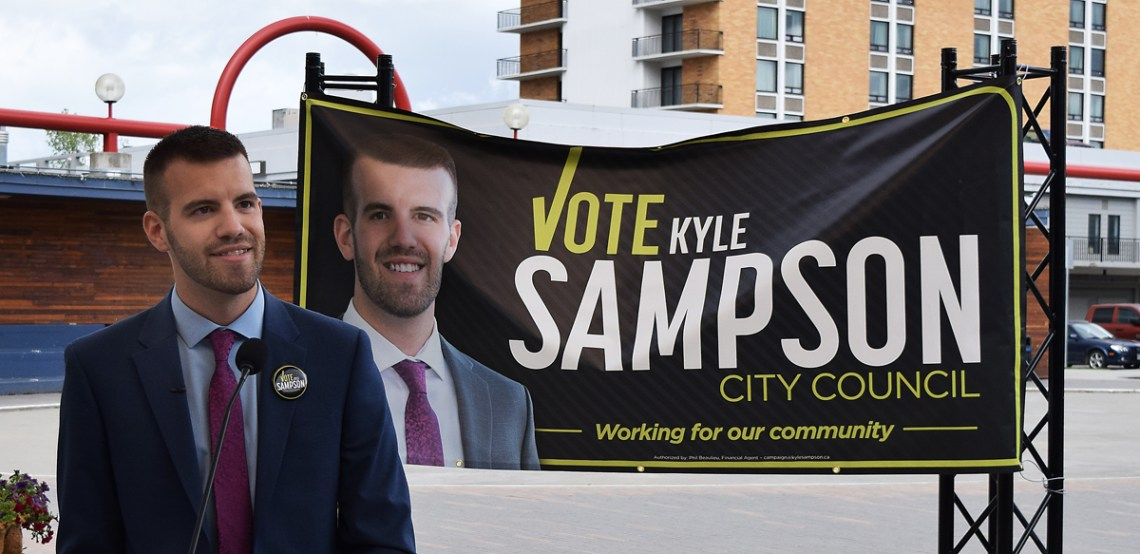 Kyle Sampson announces he is running for a seat on Prince George city council this fall. Bill Phillips photo
