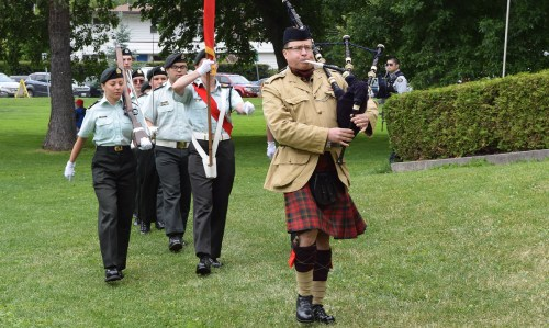 Sheldon Clare pipes the Rocky Mountain Rangers in for Canada Day celebrations in Lheidli T'enneh Memorial Park. Bill Phillips photo