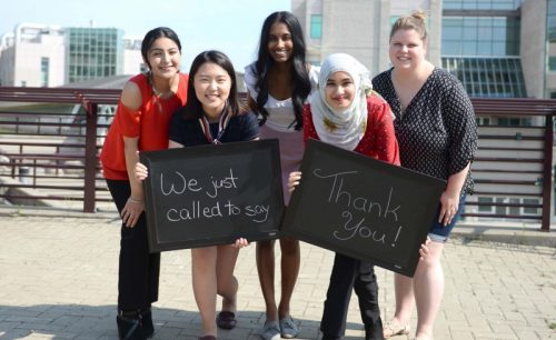 Five UNBC students are calling alumni, donors and founders this summer to thank many of UNBC's strongest supporters. Left to right: Navita Dhillon, Alice Won, Sakshi Satish, Furqana Khan, and Kiera Bokvist. UNBC photo