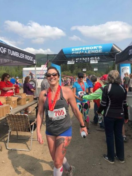 Tracey Lotze competing in the Emperor's Challenge in Tumbler Ridge.