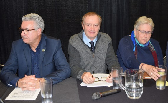 Mayoral candidate Lyn Hall and council candidates Paul Serup and Susan Scott at CBC/Prince George Public Library all candidates forum. Bill Phillips photo