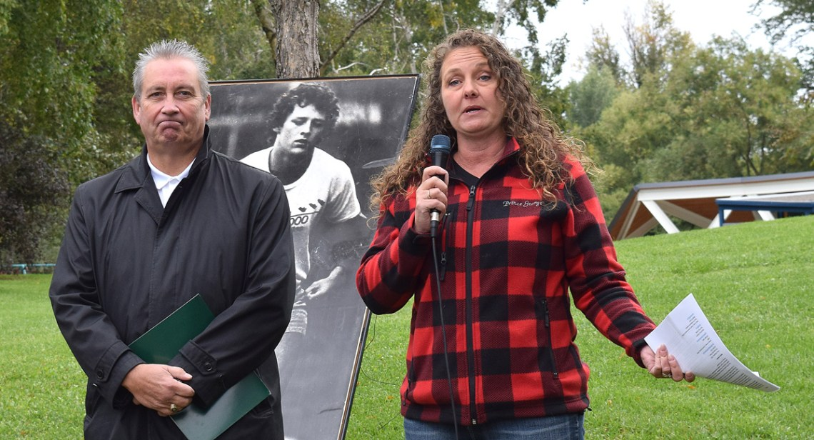 UNBC president Dr. Daniel Weeks and The Exploration Place CEO Tracy Calgheros announce two Terry Fox exhibits coming to the city. Bill Phillips photo