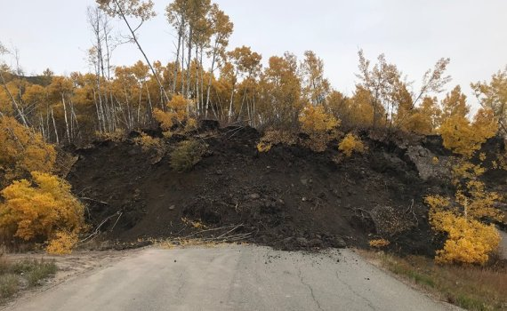 A landslide has cut off residents of Old Fort Road near Fort St. John. YRB photo
